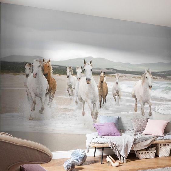 White Horses Wall Mural
