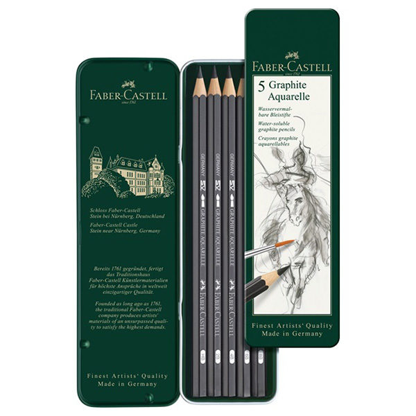 Faber-Castell-Graphite-Aquarelle-tin-of-5-Open