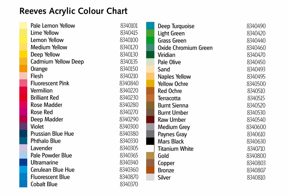 Reeves Acrylic Paint Colours