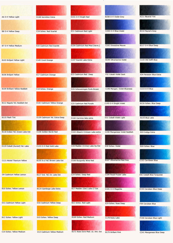 Reeves-Oil-Colour-Chart