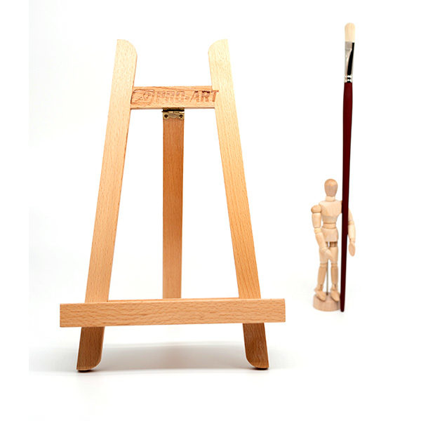 Small-Display-Easel-front-view-with-manikin-standing-next-to-it