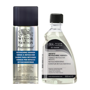 Winsor-&-Newton-Retouch-Varnish-Spray-and-liquid-bottles