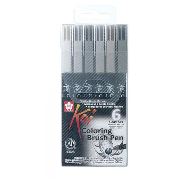 sakura-koi-coloring-brusg-pen-6-gray-set