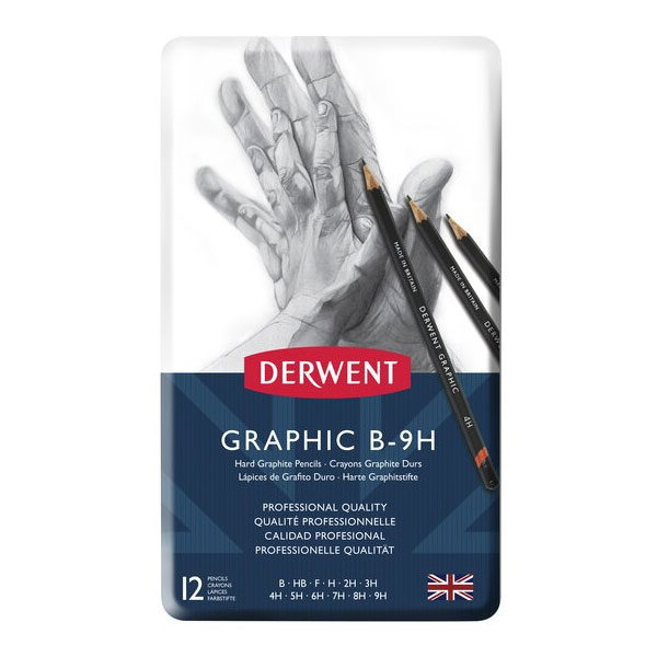 Derwent-Hard-Graphic-B-9H-Pencils-12-Tin-Set-front