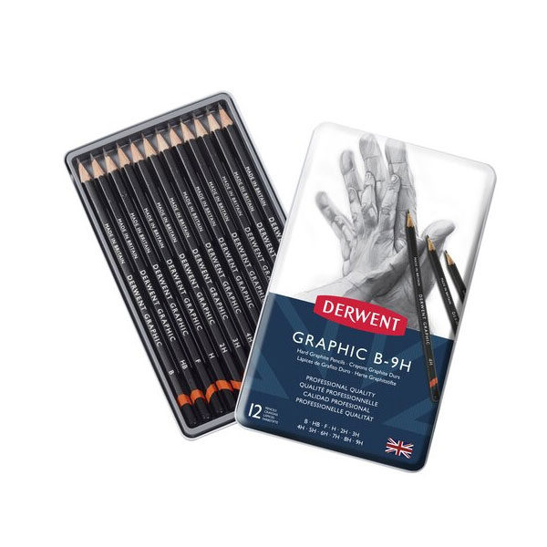Derwent-Hard-Graphic-B-9H-Pencils-12-Tin-Set-opened-up