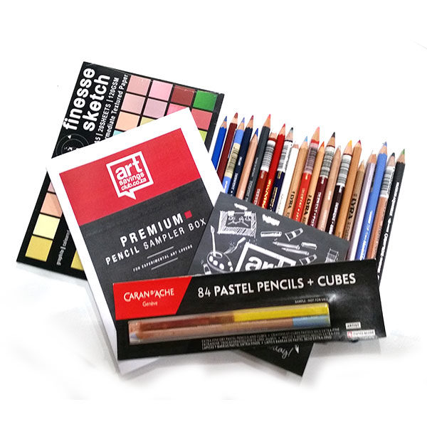 Premium-Pencil-Sampler-Box-from-ArtSavingsClub-Products-laid-out
