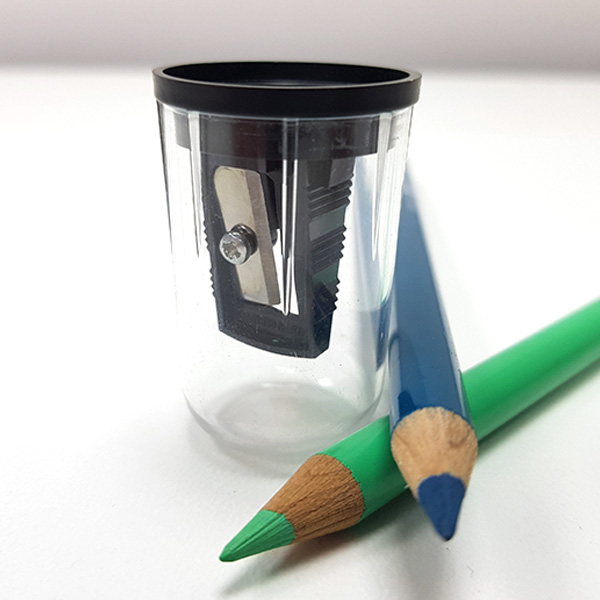 Artsavingsclub-Fine-Art-Sharpener-in-Transparent-Holder-with-colour-pencils