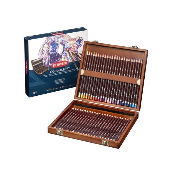 Derwent-Coloursoft-Wooden-Box-Set-48-piece-New-Design