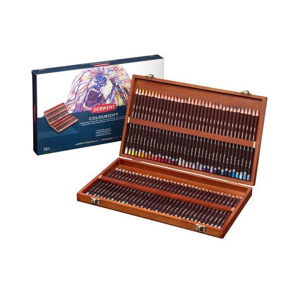 Derwent-Coloursoft-Wooden-Box-Set-72-piece-New-Design