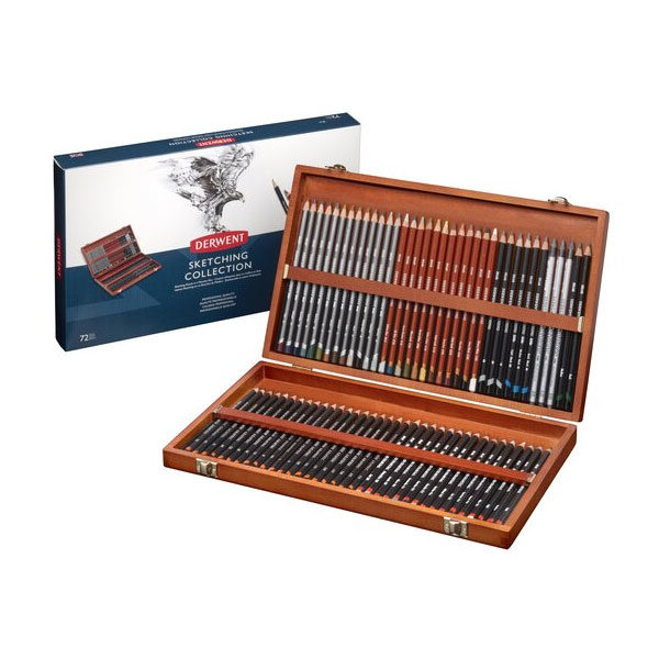 Derwent-Sketching-Wooden-Box-Set-72-piece-New-Design