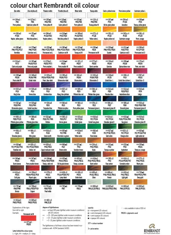 Rembrandt-oil-colour-chart