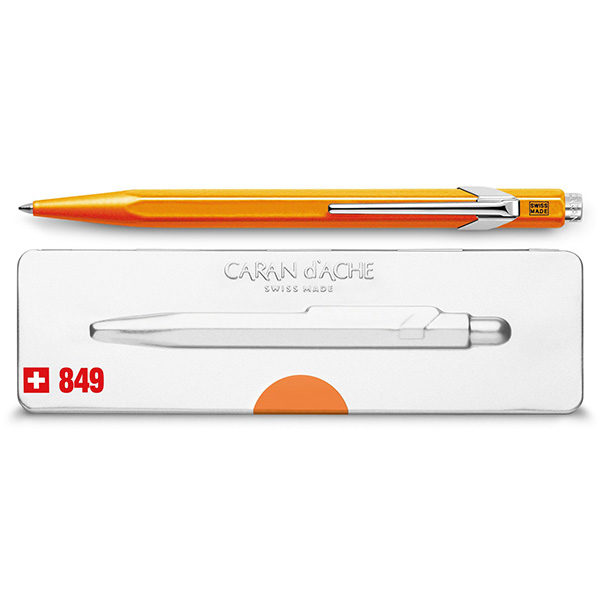 849-Popline-Ballpoint-Pen-with-Holder-CarandAche-Orange