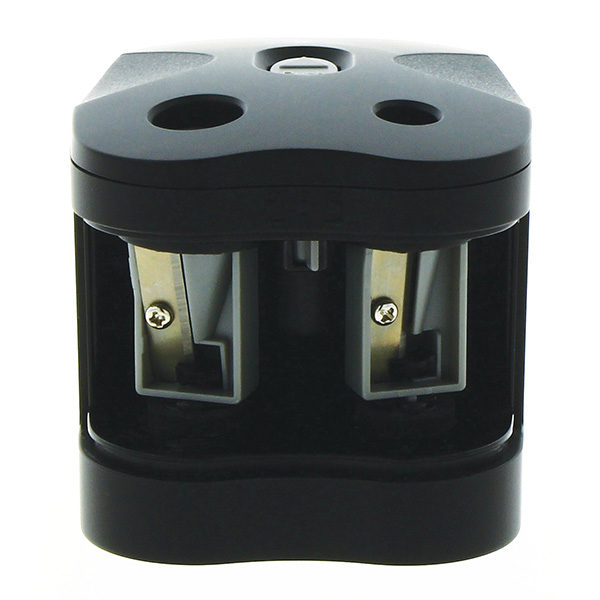 Twin-Hole-Pencil-Sharpener-Battery-Operated-Derwent Front Open