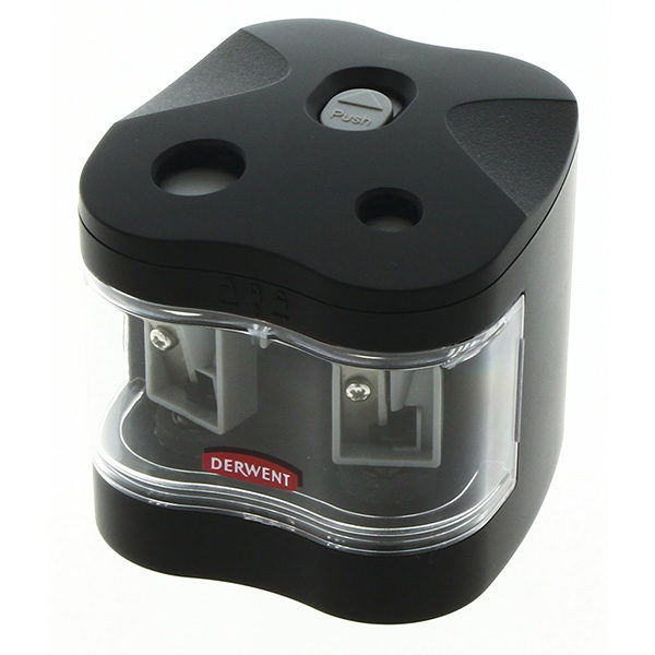 Twin-Hole-Pencil-Sharpener-Battery-Operated-Derwent Side