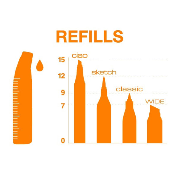 Refillable Inks Copic Marker Various Ink Refill For Sketch /& Ciao-vermillion