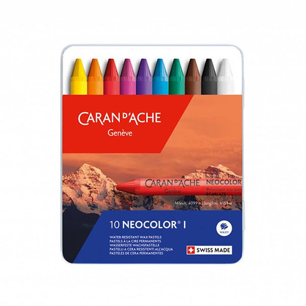 Caran-DAche-Neocolor-I-Water-Resistant-Wax-Oil-Pastels-10-set