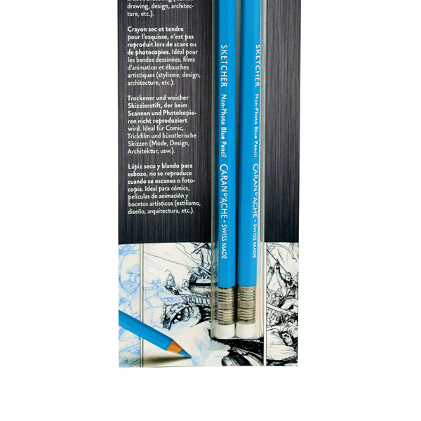 Caran-DAche-Non-Photo-Blue-Pencil-Blisterpack-in-packaging-bottom-view