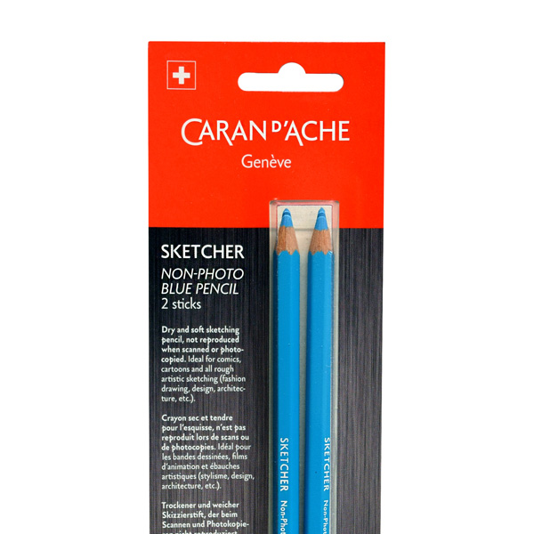 Caran-DAche-Non-Photo-Blue-Pencil-Blisterpack-in-packaging-top-view