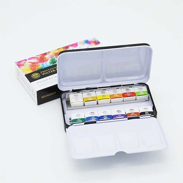 Professional-Water-Color-Pan-Set-of12-Open Mungyo
