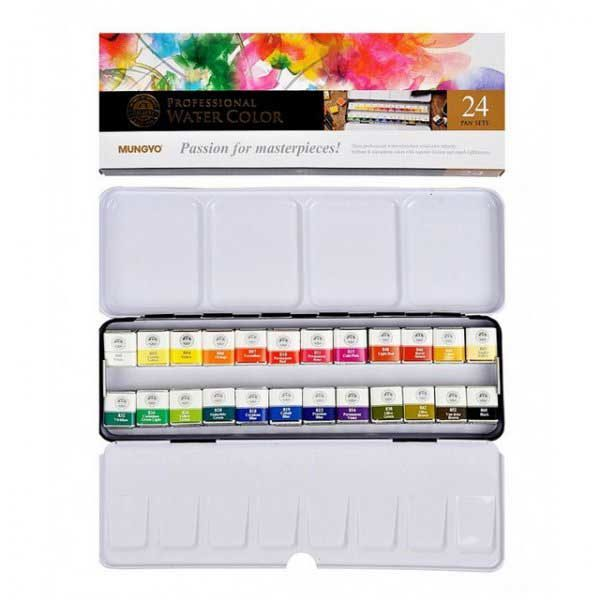 Professional-Water-Color-Pan-Set-of24-Open Mungyo