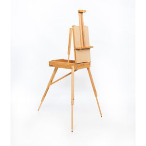 Wooden-French-Box-Style-Easel-Folded-open-with-canvas-on-it