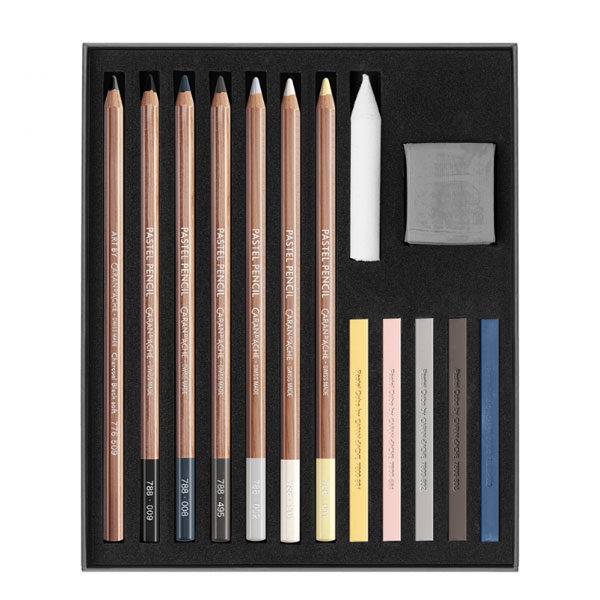 Light-&-Shade-Set-of-Pastel-Pencils-Open-CarandAche