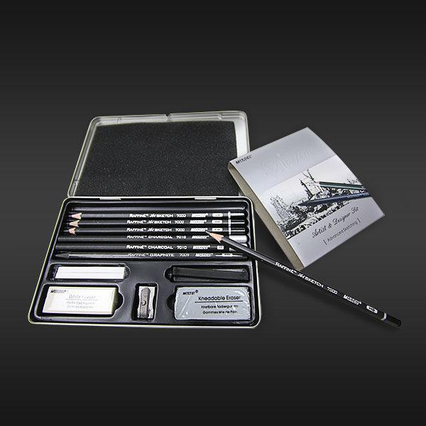 Raffine Artist & Designer Sketching Set Of 13 on black background