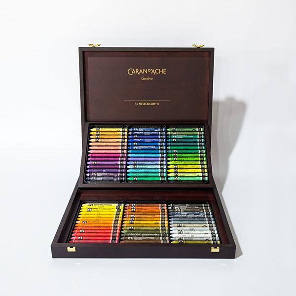 caran-dache-neocolor-II-84pc-wooden-box-set-open