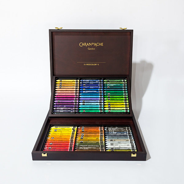 caran-dache-neocolor-II-84pc-wooden-box-set-open