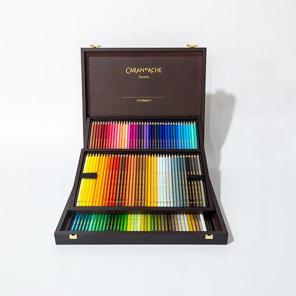 caran-dache-pablo-120pc-wooden-box-set-open