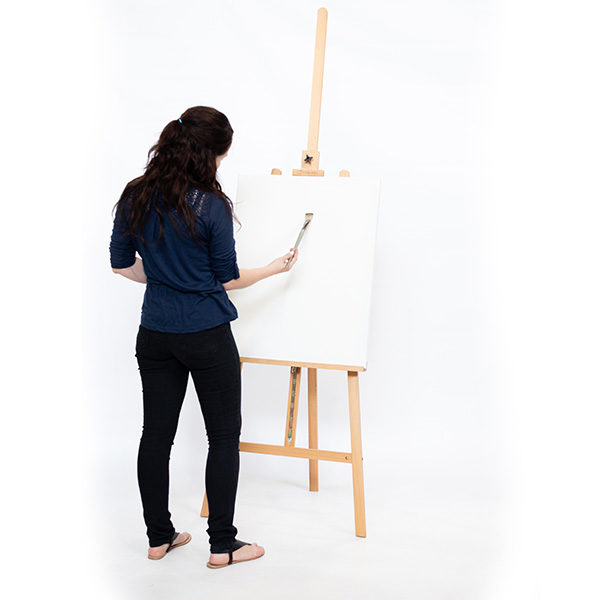Bamboo-Easel-KB785-Side-View-with-model-next-to-easel