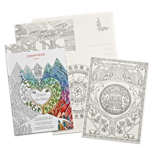 Colouring-Postcards-Spirit-of-the-Alps-Caran-dAche