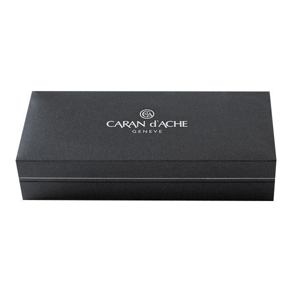 Varius-China-Lacquer-Black-Silver-plated-Rhodium-Coated-Ballpoint-Pen-Caran-dAche-closed-box