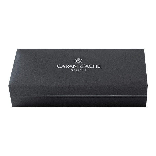 Varius-China-Lacquer-Black-Silver-plated-Rhodium-Coated-Ballpoint-Pen-Caran-dAche-closed-box