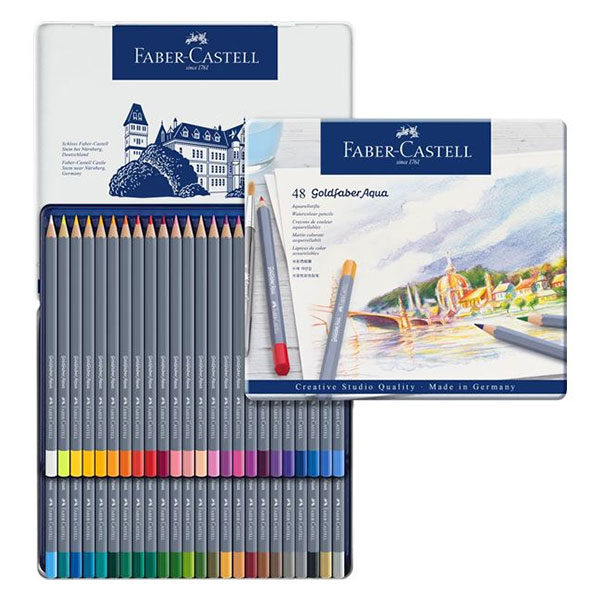 Goldfaber-Aqua-Watercolour-Pencil-48-Tin-Sets-Faber-Castell-Open-Collage