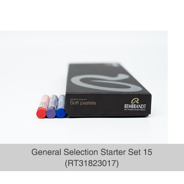 Rembrandt-Soft-Pastels-General-Selection-15-Set-box-side-view-with-3-pastels-laying-next-to-it