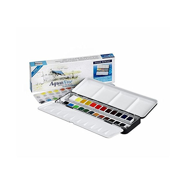 Aquafine-Watercolour-Metal-Box-24-Half-Pan-Set-Daler-Rowney