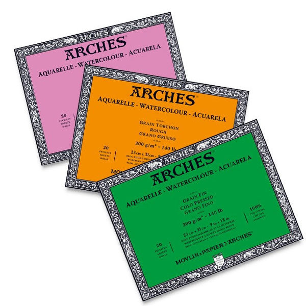 Aquarelle-Watercolour-Blocks-ARCHES-Rough,-Cold-&-Hot-Pressed