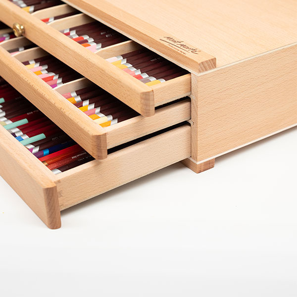 Mont-Marte-Artists-Pastel-Box-top-side-view-with-drawers-open-and-pencils-inside-01