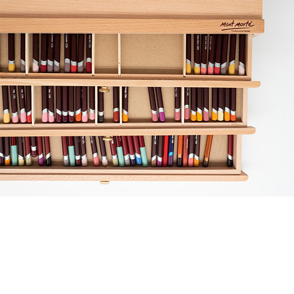 Mont-Marte-Artists-Pastel-Box-top-view-with-drawers-open-and-pencils-inside-01