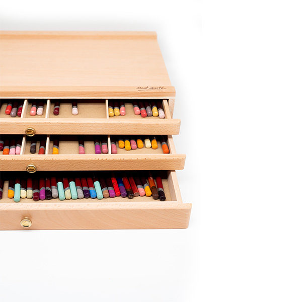 Mont-Marte-Artists-Pastel-Box-top-view-with-drawers-open-and-pencils-inside