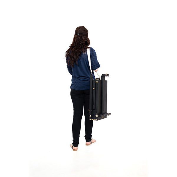 Mont-Marte-Black-French-Box-Easel-folded-and-carried-by-model