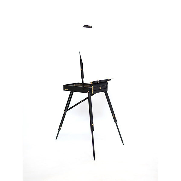 Mont-Marte-Black-French-Box-Easel-folded-open-side-view-with-canvas-on-it
