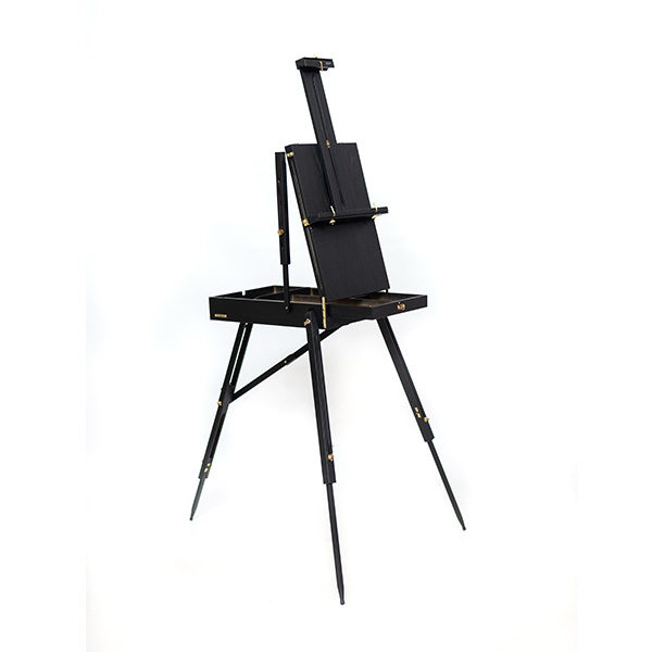 Mont-Marte-Black-French-Box-Easel-folded-open-side-view-with-open-tray