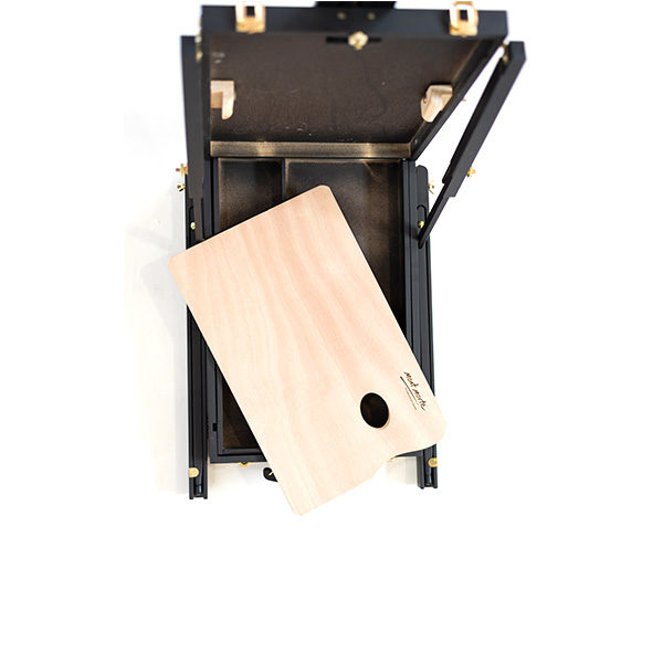 Mont-Marte-Black-French-Box-Easel-folded-open-with-a-mont-marte-palette-top-view