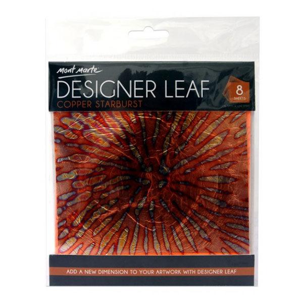 Copper-Starburst-Front-Designer-Leaf-14cm-8-sheets-Mont-Marte