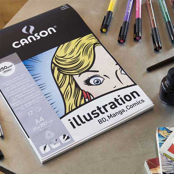 Manga Paper For Detail Pen /& Marker Drawings Canson Illustration Pad 250gsm A3
