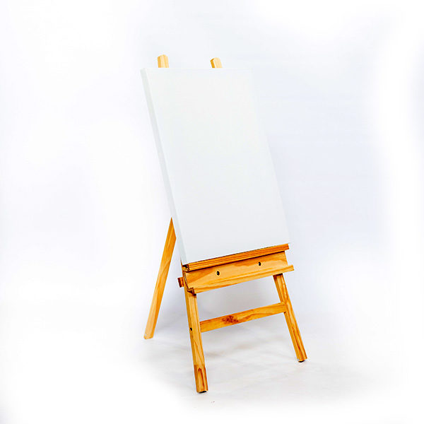 Mont-Marte-Student-Pine-Easel-(122cm)-with-canvas-on-it