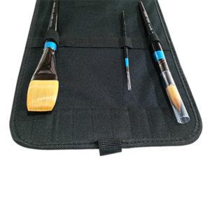 Black-Canvas-Portfolio-Brush-Bag-Open