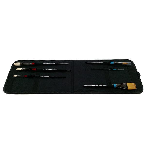 Black-Canvas-Portfolio-Brush-Bag-Open-Flat